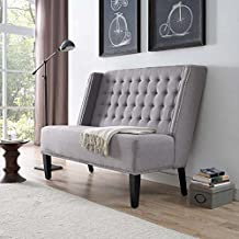 Modway Achieve Button Tufted Polyester Fabric Upholstered Loveseat or Settee With Nailhead Trim, Grey In Light Gray
