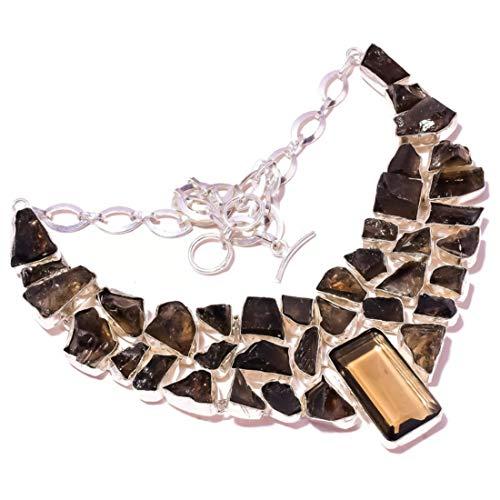 jewels house Collar de cuarzo ahumado con piedras preciosas drusas, chapado en plata, hecho a mano, para mujer