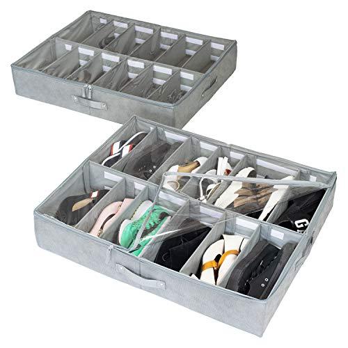 storageLAB Under Bed Shoe Storage Organizer Adjustable Dividers - Set of 2 Fits 24 Pairs Total - Underbed Storage Solution
