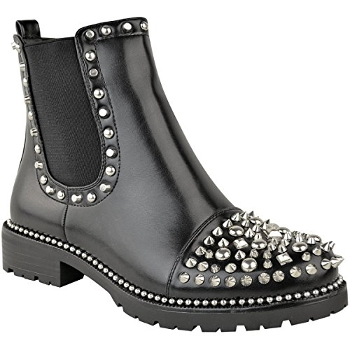 Fashion Thirsty Womens Low Spike Studded Chunky Ankle Boots Biker Goth Punk Grunge Size 5