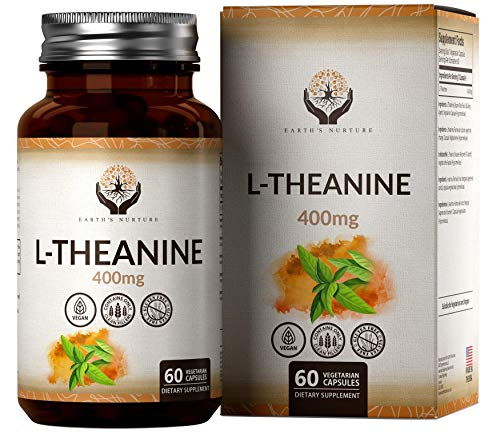 EN L Theanine 400mg High Strength Vegan Capsules | 60 Capsules Made from L-Theanine Powder | Clean Fillers, Gluten Free and Non GMO | Made in The USA in GMP Licensed Facilities