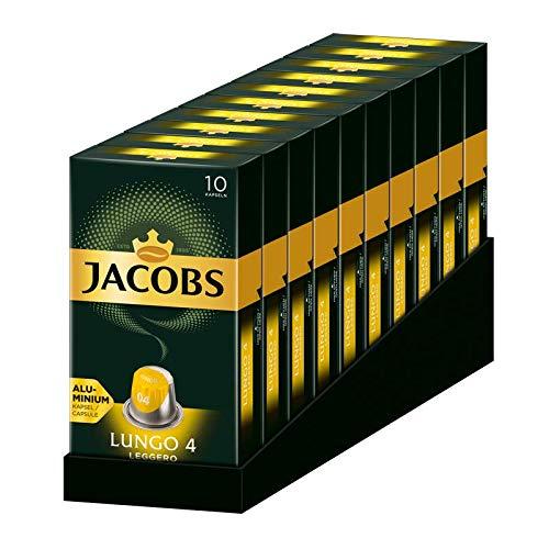 Jacobs Kaffeekapseln Lungo Leggero, Intensität 4 von 12, 100 Nespresso®* kompatible Kapseln, 10er Pack, 10 x 10 Getränke