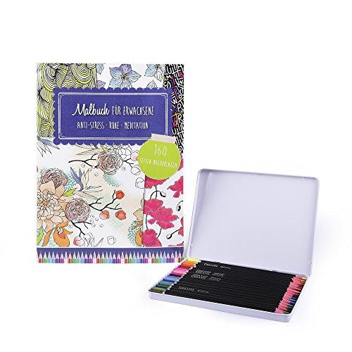 EAST-WEST Trading GmbH Malbuch Set für Erwachsene, Anti-Stress - Ruhe - Meditation inklusive 18 hochwertige Holzbuntstifte zum sofortigen Loslegen