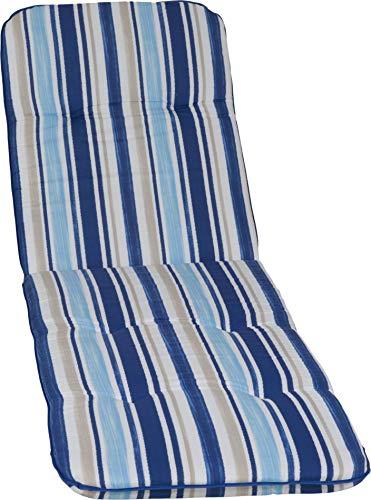 Gartenstuhlauflage Gartenstuhlkissen Sitzkissen Polster für Gartenliege Streifen hellblau, blau, Weiss und beige