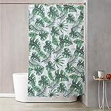 Tenda doccia 180x180 cm con decoro a foglie Bianco Decoro Foglie