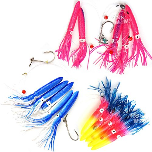 Fish WOW! Fishing Shell Squid Rig Daisy Chain Trolling Lure - 3 Colors Set -