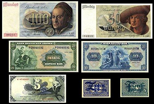 *** 5Pfg,10Pfg - 5,10,20,50,100 Deutsche Mark - 7 Geldscheine BDL 1948 - P11 - P17 - Reproduktion ***