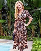 The Drop Vestido para Mujer, Maxi, con Cierre de Botones Frontal, Estampado de Leopardo Marrón y Negro, por @haneyofficial, S