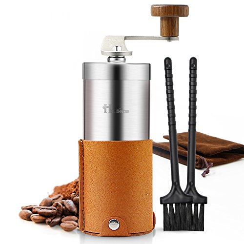 Portable Manual Coffee Grinder Set Professional Conical Ceramic Burrs Stainless Steel Grinder Easy to Clean for Home Travel Outdoor (Brown)