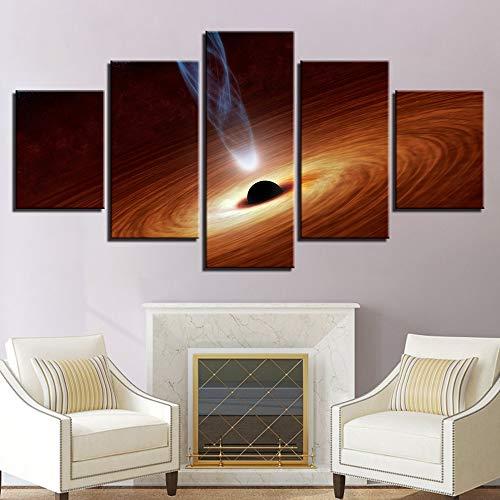 Modulare Kunst HD Malerei Poster Leinwand Home Decoration 5 Panels Space Planet Whirlpool Wohnzimmer Wandbilder gedruckt B