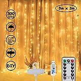 LED Lichtervorhang 3M*3M, Lichterkette schlafzimm 300 LEDs USB Vorhanglichter String Light 8 Modi mit Fernbedienung Timer-Wasserfest, für Weihnachten, Innen und außen Deko,Warmweiß [Energieklasse A+]