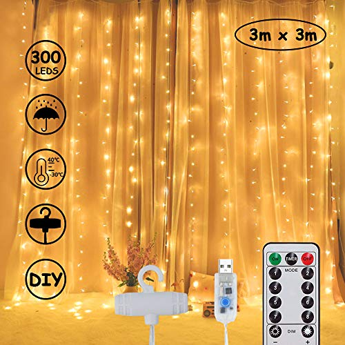 Lichterkette schlafzimm 300 LEDs Lichtervorhang Romantische DIY/USB Vorhanglichter String Light Timer-Wasserdicht/Fernbedienung 8 Modi 10-stufige Helligkeit für Deko Innenbeleuchtung Warmweiß