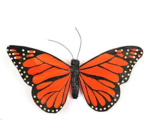 Touch of Nature 23023 Papillon en Plumes 15,2 cm Orange/Noir