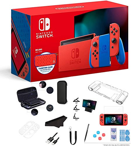 Latest Nintendo Switch Mario Red and Blue Edition 32GB Console and Carrying Case, Bold Red Joy-Con, 1080p Multi-Touch Screen, WiFi, Bluetooth, HDMI and GalliumPi 12-in-1 Bundle