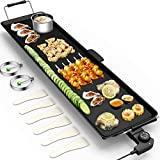 HAPPYGRILL 35' W Electric Griddle BBQ Barbecue Grill Nonstick Teppanyaki Table Top Griddle for Indoor Outdoor Patio Camping