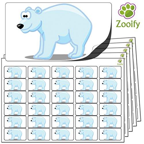 480 x autocollants ours blanc (38 x 21 mm) Étiquettes animaux autocollantes de qualité élevée par Zooify.