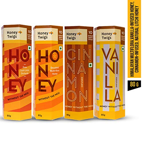 Honey Twigs 4 Variant Pack - 80Gms Packs X 4 Units (Multiflora Natural Litchi Cinnamon Infused and Vanilla Infused Honey) Pure Honey