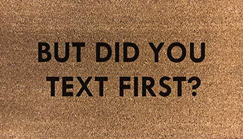But Did You Text First Coir - Zerbino in fibra di cocco sintetico in nylon, colore: grigio chiaro, marrone, crema e verde