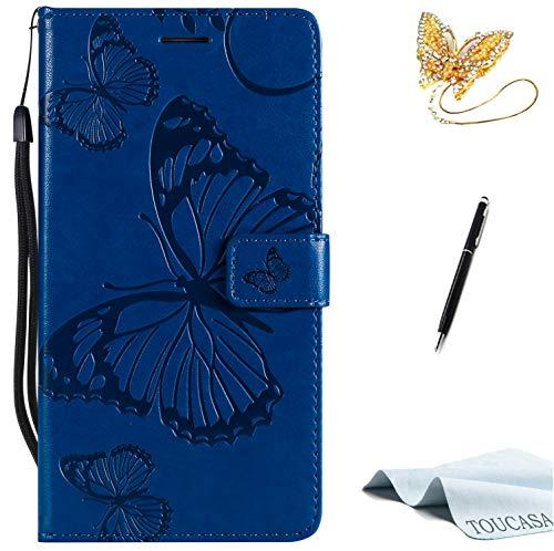 TOUCASA Huawei Mate 8 Handyhülle,Huawei Mate 8 Hülle, Brieftasche flip PU Leder ledercaseHülle Kartenfächer [3D Butterfly] [3D Schmetterling] Embossed Technology fürHuawei Mate 8-(Blau)+StylusPen