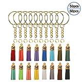 OOTSR 50 Sätze von Schlüsselanhänger Bulk, inklusive Schlüsselring mit Gliederkette, offener Biegering, Wildleder-Quaste für Schlüsselanhänger/Schmuckherstellung/Dekor (Gold)