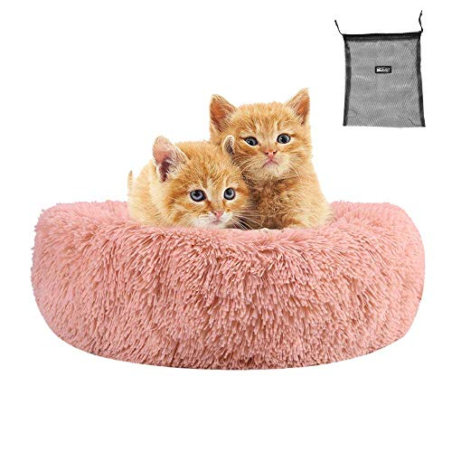 Weiche Haustierbett für Katzen und kleine mittelhunde Cuddler Runde Kissen Nest Bett Tragbare Katze Hund Welpen Bett Sofa Donut Schlafbett Beruhigungsbett Warm Plüsch Pad Matte Gemütliche Betthütte mi