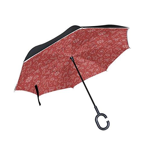 jstel Double Layer seitenverkehrt Weihnachten Line Icon Regenschirm Cars Rückseite winddicht Regen Regenschirm für Auto Outdoor mit C geformter Griff