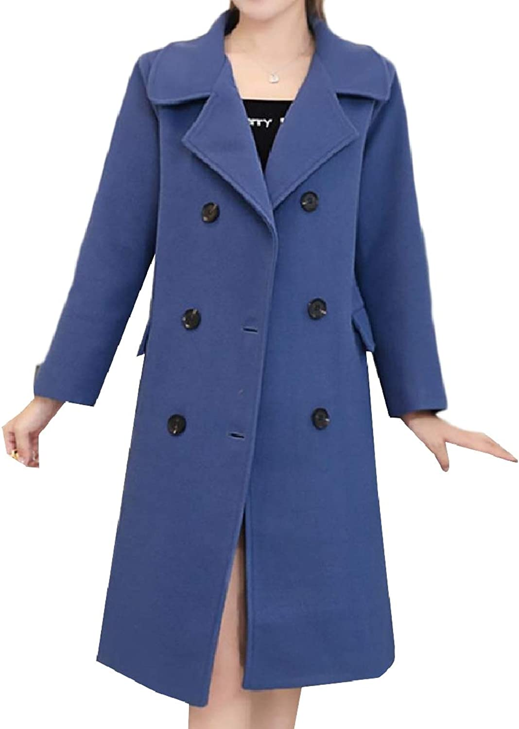 Baseby Women Thick Plus Size Double Breasted Lapel Trench Pea Coat Jacket