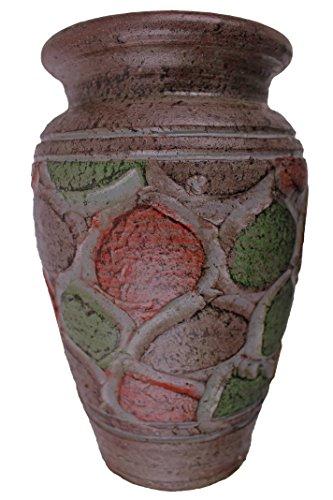 Rotfuchs® Vase en argile - 20 cm de haut - Fait main - Décoration - Accessoire (20 cm, brun rouge)