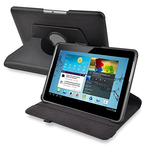 JVSISM black 360-Degree Swivel Leather Case for 10.1-Inch Galaxy Tab 2 P5100/P5110