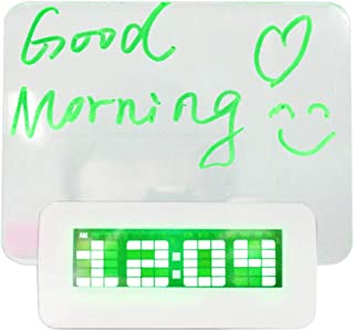 OMLTER with Erasable Highlighter LED Blue Digital Fluorescent Message Board Alarm Clock Display Time Date Travel Home Bedroom Birthday Reminder Memo Clock Gifts for Kids
