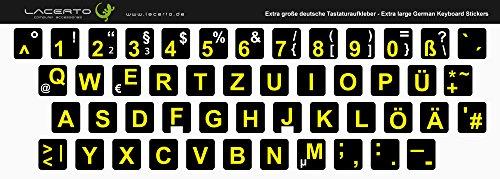 Lacerto® | Extra grote tekens, Duitse toetsenbordsticker voor slechtzienden en senioren, met mat beschermend laminaat 12x13 mm zwart