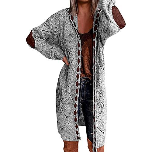Shopler Las mujeres Abiertas Cárdigan Punto Cable Suéter De Punto De Manga Larga Cuello En V Codo Parche Abrigo Casual Outwear, gris, S