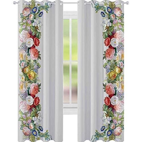 YUAZHOQI Thermal Insulated Blackout Curtain Rose Garland in Pastel Tones Jasmine Cornflower Bouquet Classic Bloom Graphic Curtains for Baby Nursery Room W52 x L108 Inches Red Yellow Green