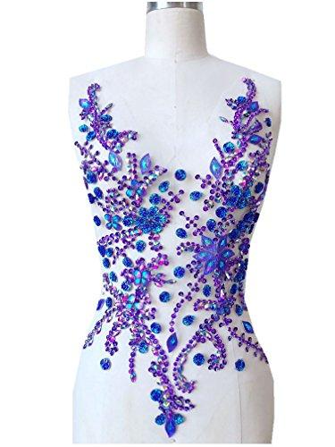Pure hand gemaakte kristallen patches Naai op strass Applique Knit Trim 50 x 30 cm jurk Accessoire Paars