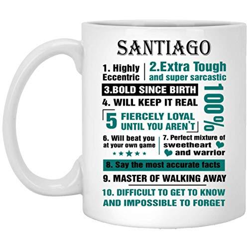 N\A Taza Personalizada para niños Santiago 10 Hechos Altamente excéntricos - Tazas de té de café Personalizadas para él, Ella en el día del Padre - Cerámica Blanca