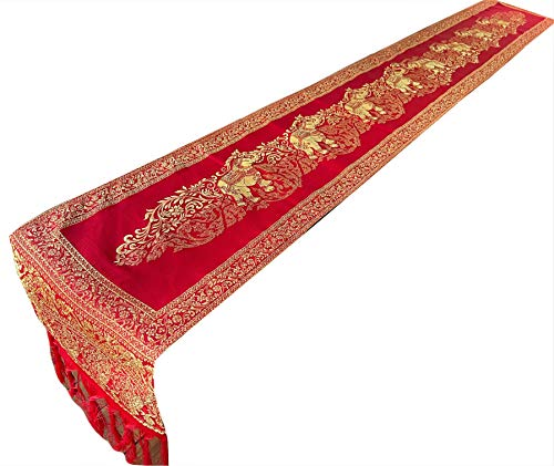 Blue Orchid Thai Elephant Table Runner with Fringe - Luxurious Bed Scarf - Polyester Embroidered Gold Brocade - Small - 76x9 Inches (Strawberry Red)