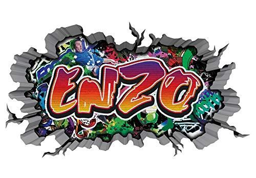 3D Muurtattoo graffiti-muursticker naam ENZO muurdoorbraak sticker Boy zelfklevend muursticker jongenddeco kinderkamer 11MB544 ca. 97cmx57cm