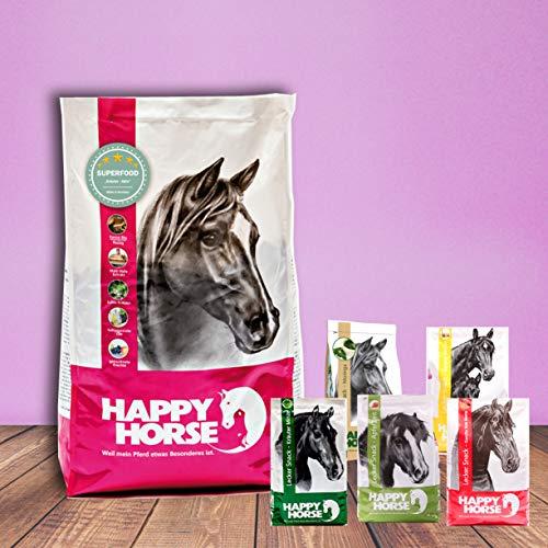 Happy Horse Superfood Kräuter Aktiv 14 kg + 5 x 1 kg Lecker Snack gemischt. Das Vorteilspaket mit der leckeren Abwechslung.