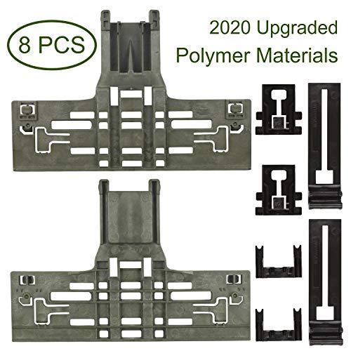 Upgraded 8 Packs Polymer Material W10546503 Upper Rack Adjuster & W10195840 Dishwasher Top Rack Adjuster & W10195839 Dishwasher Rack Adjuster & W10250160 Arm Clip-Lock& Fit for 665 Dishwasher