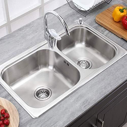 Pkfinrd 76x45 cm roestvrij stalen badkuip-trap enkele kom drop in sink Big Kitchen Sink Single Groove groentewasgoed Basin 11.15