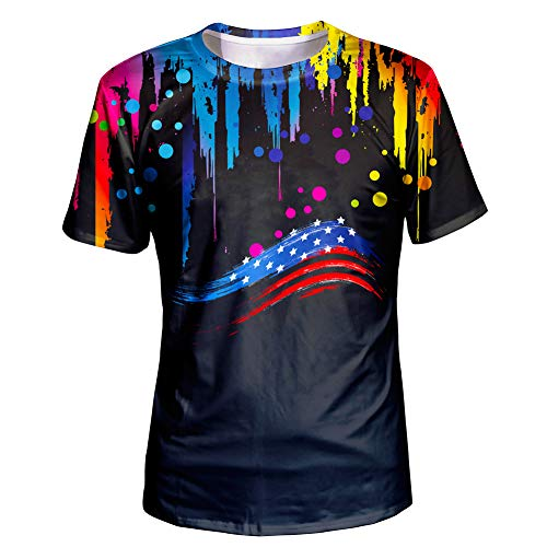 Asylvain Black Color Paint Drip with American Flag Design Shirts 3D Graphic Cool T-Shirt with Crewneck for Men and Women, X-Large
