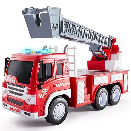 HERSITY Camion Pompieri Giocattolo Grande, Giochi Vigili del Fuoco con Luci e Suoni, Scala Retrattile, 1/16 Camioncino con Macchinine per Bambini Maschio 3 4 5 Anni