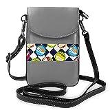 Lawenp Sac à main en cuir pour téléphone, capsules de bouteilles de soda Petit sac à bandoulière bleu et blanc Mini pochette pour téléphone portable Sac à bandoulière pour femme