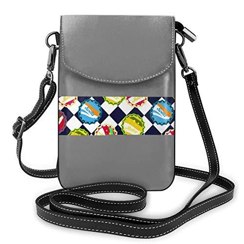 Lsjuee Monedero de cuero para teléfono, tapas de botellas de refresco, azul y blanco, pequeño bolso bandolera, mini bolso para teléfono celular, bandolera para mujer