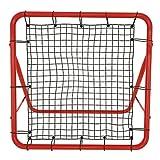 UISEBRT Red de rebote para fútbol, para entrenamiento de fútbol, con 5 peldaños ajustables, marco de acero rojo, 100 x 100 x 65 cm