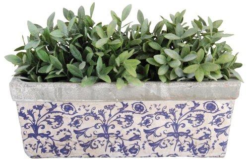 Esschert Design Balkonkasten, Blumenkasten aus Keramik in blau-weiß, ca. 40 cm x 16 cm x 15 cm