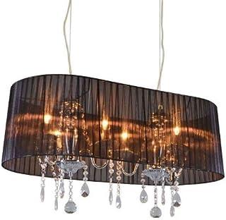 QAZQA Clásico/Antiguo Lámpara de araña clásica cromada pantalla negra 80cm - ANN-KATHRIN Vidrio/Cristal/Textil/Acero Ovalada Adecuado para LED Max. 6 x 60 Watt