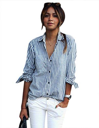 Corgy Women Handsome Boyfriend's Turn-down Collar Striped Imitation Jeans Blouse Shirt