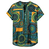 Skang Camisetas Hombre Manga Corta,Suelto Botones Tradicional Africana BlusaTops Camiseta Henley Etnica Vintage de Verano Casual M-XXXL