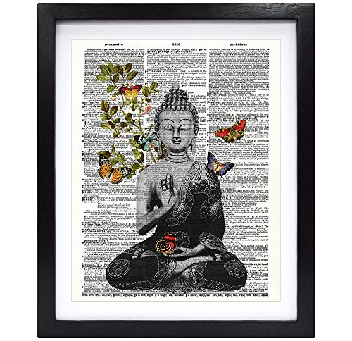 Susie Arts 8X10 Unframed Buddha with Butterfly Housewarming Zen Decor Upcycled Vintage Dictionary Art Print Book Art Print Home Decor Wall Art V157